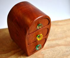 Redgum Cave Bandsaw Box Wooden Box Handmade Sculptured Colourful Glass Drawer…