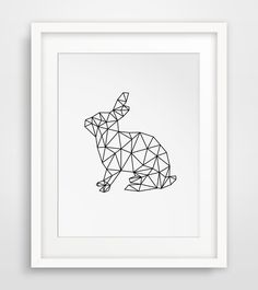 Rabbit Print Geometric Digital Art Rabbit by MelindaWoodDesigns