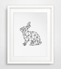Rabbit Print Geometric Digital Art Rabbit by MelindaWoodDesigns