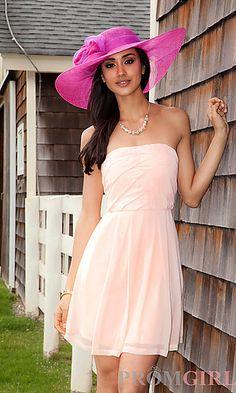 Chiffon Strapless Semi Formal Dress  at PromGirl.com