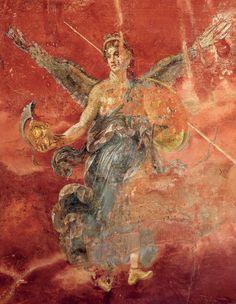 Victoire, fresque, 45-79 apr. J.-C., villa de Murecine, près de Pompéi. Dans l'Énéide de Virgile illustrée par les fresques et les mosaïques antiques - Diane de Selliers, éditeur de livres d'art