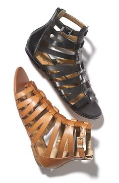 I love all of the gladiator sandals they are showing right now!  These are really cute!!  Brown or black?