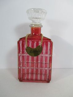 Decanter Ruby Flass Cut to Clear Glass Brandy Metal Tag Rectangle Retro Barware