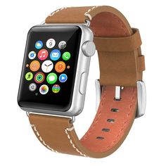 38mm Strap Band Genuine Leather Swees FOR Apple Watch Series 2 iWatch Acc. Brown #Swees