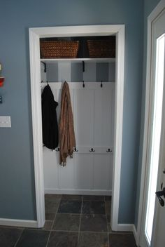 Great Extraordinary Design Ideas Of Small Coat Closet. Astonishing Modern Small Coat  Closet Featuring Built In Coat Closet And White Wooden Storage Shelves