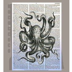 Octopus...i think i need to start painting/drawing on old book pages