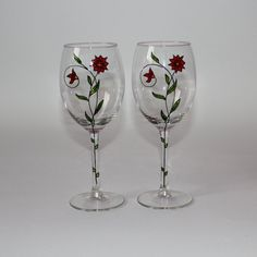 Hand-decorated wine glasses by Madzisku on Etsy