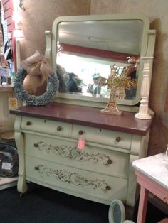 Lisa DeSantiago NC, WH hardware dry brushed onto the raised stencils - American Paint Company American Paint Company, Project Ideas, Projects, Dresser With Mirror, Dry Brushing, Woman Painting, Cupboard, Interior And Exterior, Painted Furniture