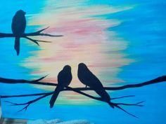 Birdsong 2... Fun acrylic painting of birds on a branch. 16x20, silhouette, sunset.   Can't draw, we will provide a stencil for you to use.