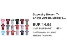 """Superdry: T-Shirts für 11,96 Euro dank Gutscheincode https://www.discountfan.de/artikel/klamotten_&_schuhe/superdry-t-shirts-fuer-11-96-euro-dank-gutscheincode.php Als """"Wow! des Tages"""" sind heute bei Ebay T-Shirts von Superdry zum Schnäppchenpreis von 14,95 Euro zu haben. Mit einem Gutschein lässt sich der Preis um weitere drei auf 11,96 Euro drücken. Superdry: T-Shirts für 11,96 Euro dank Gutscheincode (Bild: Ebay.de) Die Superdry-T-Shirts zum ... #TShirt"""