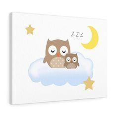 WOODLAND ANIMALS NURSERY Owl Canvas Wall Art Print Moon Stars Clouds Baby Boy Girl Room Decor Owl Nursery Decor, Woodland Animal Nursery, Elephant Nursery, Woodland Animals, Moon Nursery, Room Decor, Owl Canvas, Canvas Wall Art, Wall Art Prints