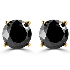 PARIKHS Round Black Diamond stud AAA Quality in Yellow Gold (0.10ct). Beautiful small diamond stud 0.10ctw (each stone 0.05ct & 2.30mm). Images enlarged to show details. Hand set in Pure Yellow Gold 4 Prong Setting. All our diamonds are conflict free diamonds. Proudly made in the USA.