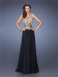 Gorgeous Sweetheart Sheer Corset Bodice Gold Embroidered Lace Chiffon Prom Dress PD11552