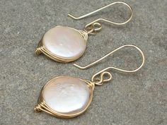 Coin Pearl and 14k gold fill Woven Earrings