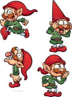 Buy Christmas Elf by memoangeles on GraphicRiver. Cartoon Christmas elf with different expressions. Vector clip art illustration with simple gradients. Christmas Yard Art, Christmas Rock, Christmas Door Decorations, Christmas Drawing, Christmas Paintings, Christmas Cartoons, Christmas Clipart, Elf Drawings, Pixel Art Templates