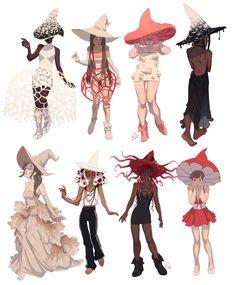 Artstation - mushroom witches, ester zejn character design д Vector Character, Character Design Cartoon, Fantasy Character Design, Character Design Inspiration, Character Art, Character Design References, Kunst Inspo, Art Inspo, Cartoon Kunst