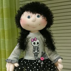 Gothic Style Doll with Girly Skull Patterned Shirt and Dotted Tulle Skirt, Cloth Doll, Plush Doll, Collectible by SzarvasMici on Etsy