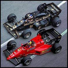 Ferrari e Lotus.   Michelle Alboreto  dividindo a curva com Mansell   O piloto italiano foi mais uma espe...