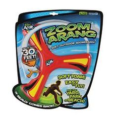 Zoomarang is an 10 Inch soft foam outdoor boomerang that really comes back when thrown. Since it is soft foam children can play outdoors with less risk than traditional . Outdoor Toys, Outdoor Games, Outdoor Play, Splat Balls, Camp Care Packages, Badminton Set, Family Fun Games, Hobby Toys, Soft Feet