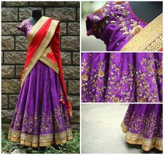 Walk around this festive season in this deep violet and red halfsare with an intricate embroidery and hand detailing. halfsaree lehenga antiquework nallamz festivecollection Code-L08for enquiry you can call or whtzapp on 09966661159 . email us at enquiry4nallamz@gmail.com