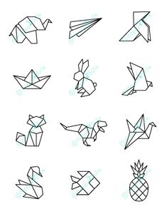 Origami 94181 Illustrations with an exclusive Happybulle design Geometric Drawing, Geometric Art, Geometric Animal, Geometric Designs, Diy Design, Design Art, Design Color, Pattern Design, Design Ideas