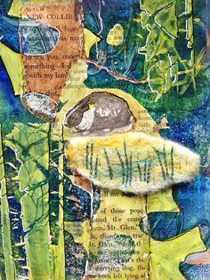 """STITCHWORKS - """"Even more playing with gelli prints, these were made with my own gelatine plate rather than the commercial one and most everything else included."""""""