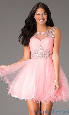 Short Sleeveless Jeweled Party Dress at SimplyDresses.com
