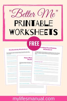 """Planner for moms. """"Better Me"""" Worksheets will help you in getting organized, achieving your goals, staying productive, creating good habits and to better manage your time. Grab the free worksheets. Self Care Worksheets, Therapy Worksheets, Self Care Activities, Free Worksheets, Goals Worksheet, Goal Setting Worksheet, Free Mental Health, Life Coaching Tools, Time Management Tips"""