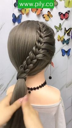 Hairdo For Long Hair, Braids For Short Hair, Easy Hairstyles For Long Hair, Side Ponytail Hairstyles, Fast Hairstyles, Braided Hairstyles Tutorials, Pixie Hairstyles, Wedding Hairstyles, Front Hair Styles