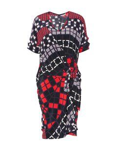 Silk Checkerboard Print Dress by Veronika Maine