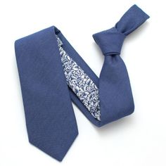 General Knot & Co.: Italian Indigo & 1970s Blue Rose Print Necktie