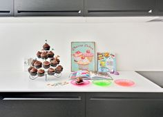 Cupcakes in the kitchen. Goes great with the Corian countertop