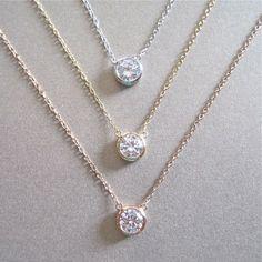 Solitaire Diamond Necklace  Diamond by tangerinejewelryshop, $48.00