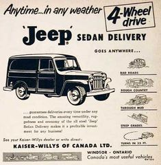1955 Jeep 4x4 original vintage ad. Featuring the CJ-5. Manufactured