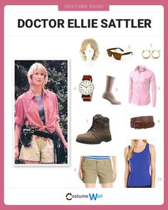 Dress up as Dr. Ellie Sattler from Jurassic Park and you'll be ready to evade some not-so-friendly prehistoric monsters. Halloween Inspo, Theme Halloween, First Halloween, Holidays Halloween, Halloween 2020, Spooky Halloween, Family Halloween Costumes, Baby Costumes, Jurrasic Park Costume