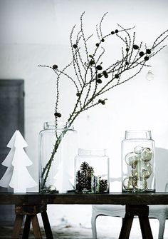 neo-christmas decor holiday, christmas style, jar, christmas decorations, white christmas, christmas decorating ideas, scandinavian christmas, nordic christma, paper trees
