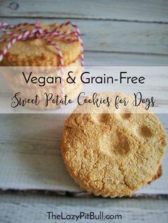 Vegan and Grain-Free Sweet Potato Cookies for Dogs | http://www.thelazypitbull.com/vegan-and-grain-free-sweet-potato-cookies-for-dogs/