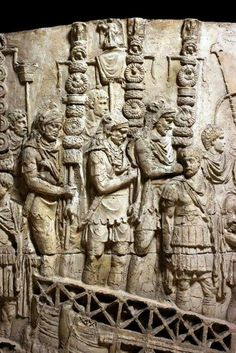 Roman legion standards on Trajan's Column: Battle of Medway on June 43 AD in the Roman Invasion of Britain Ancient Aliens, Ancient Rome, Ancient Greece, Ancient History, Roman History, Art History, Arte Latina, Trajan's Column, Art Romain