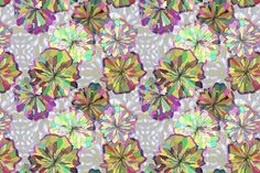 Yellow and Khaki Floral with Ikat fabric by bloomingwyldeiris on Spoonflower - custom fabric