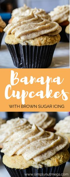 The most delicious summer cupcake. Light and flavorful! Banana Cupcakes with the perfect accent of Brown Sugar Icing! Moist, delicious and can be made dairy free!