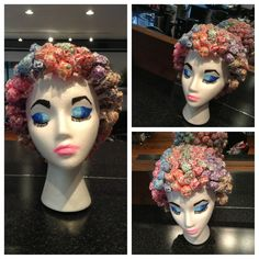 """ dum dum "" head. Cute little styrofoam head with lollipops inserted to look like hair and/or a set."