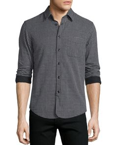 Mini-Plaid Long-Sleeve Sport Shirt, Black, Black Pattern - Rag & Bone