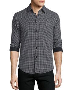 Mini-Plaid Long-Sleeve Sport Shirt, Black, Black Pattern - Rag & Bone