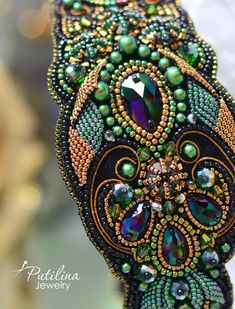 Wonderful Pics Beadwork embroidery Concepts Place stress can easily make a huge affect on how your diamond jewelry looks. No-one really wants to spend ti Bead Embroidered Bracelet, Embroidery Bracelets, Beaded Cuff Bracelet, Bead Embroidery Jewelry, Beaded Earrings, Beaded Jewelry, Gemstone Necklace, Beaded Necklaces, Diamond Jewelry