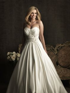 Satin Strapless Wedding Dress Adorned With embroidery and crystals A-Line skirt AW294