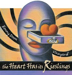2013 The Heart Has Its Rieslings. Label Art by Bascove. Vineyard, At Least, Lips, Label, Heart, Sweet, Candy, Vine Yard, Vineyard Vines
