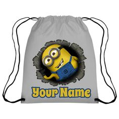 2818ba16f261 Personalised Minions Dispicable Me Bursting Out of Bag Drawstring GYM Bag  School