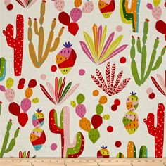 Alexander Henry Folklorico Nopales Natural from @fabricdotcom  Designed by De Leon Design Group for Alexander Henry, this cotton print is perfect for apparel, quilting and home decor accents. Colors include shades of purple, coral, pink, gold, yellow, blue, shades of grey, and aqua.