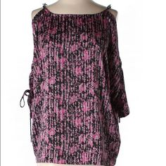 """Fuschia/Black/Gray Michael Kors Top w/Silver Fuschia/Black/Gray Michael Kors Top w/Silver Chain on Shoulders and Adorable 3/4 Drawstring Sleeves w/Silver Draw Cords. Polyester-100% Bust-50"""" Length-26"""" LIKE NEW! MICHAEL Michael Kors Tops"""