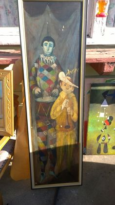 """Vtg Amazing  CLOWNS CIRCUS OIL LARGE PAINTING on BOARD 64"""" X 18"""" SIGNED. #Modernism"""